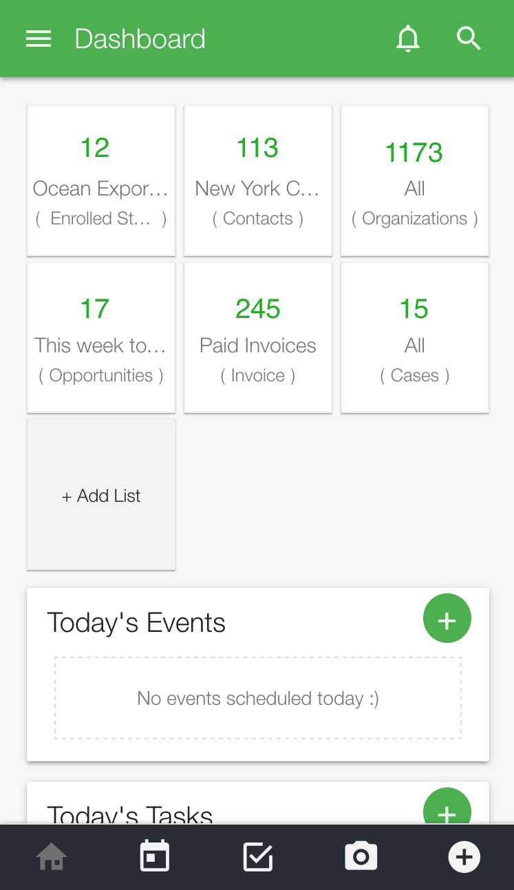 Dashboard events and tasks