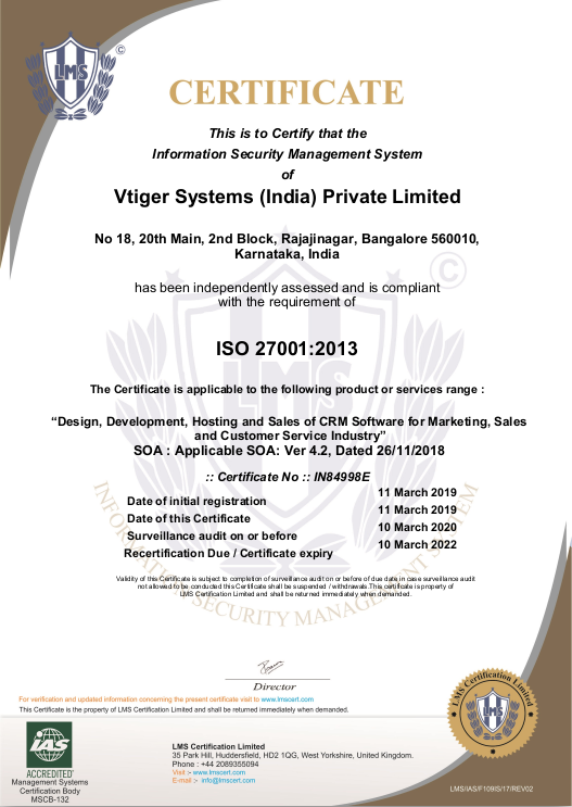 Vtiger_ISO_certification