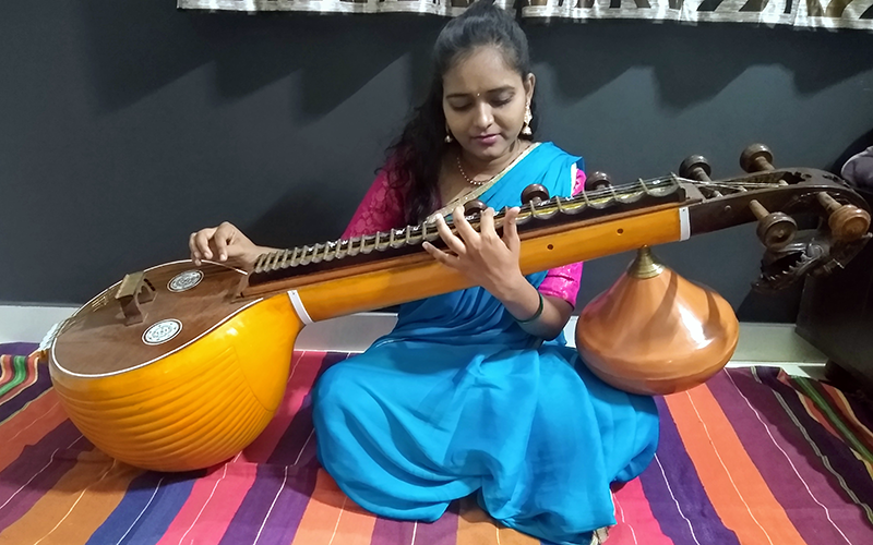 Shilpa playing the Veena