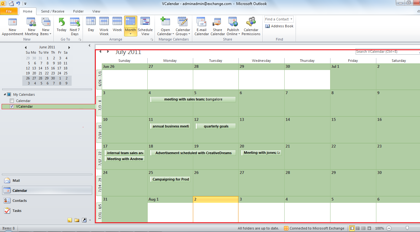 how to use microsoft outlook calendar 2010