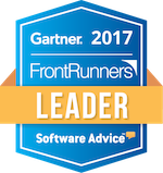 Vtiger's Gartner Frontrunners Winter 2017 leader designation badge